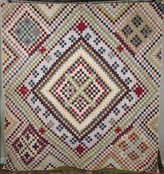 Showstopper! ANTIQUE c1880s Postage Stamp QUILT Outstanding Design www.Vintageblessings.com