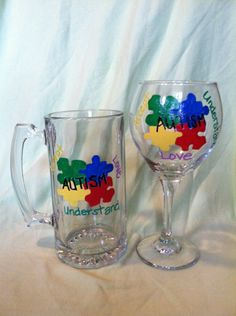 Hand painted Autism Awareness Wine Glass and by Justabrushandpaint, $14.00