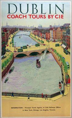 Dublin Ireland - Coach Tours via CIE - original vintage poster