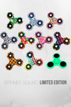 Limited Edition Printed Fidget Spinners in all your favorite designs!! #gummybear #sprinkle #emoji #soccer #camo #patch glow-in-the-dark and more!!