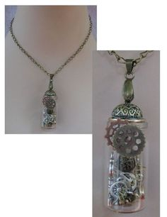 Steampunk Glass Vial Gears & Cogs Pendant Necklace