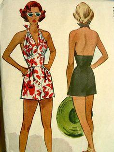 Vintage 40's McCall 7229 Sewing Pattern -  1940's Misses' Bathing Suit & Trunks - UNCUT - Bust 34
