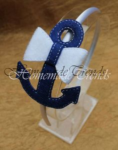 Nautical Anchor Bow- Anchor Headband-Navy Anchor Bow-Nautical Accessory-Navy 3D…