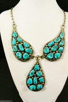 VTG Artisan L.D. hallmarked Sterling Silver Turquoise Nugget Paisley Necklace