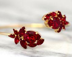 Ruby Bridal Bracelet Red Ruby Crystal Bracelet Swarovski Bridal Bracelet Gift for her Gold Cuff Bracelet Garnet Crystal Bracelet Ruby Bracelet, Swarovski Bracelet, Bridal Bracelet, Crystal Bracelets, Bridal Earrings, Bridal Jewelry, Swarovski Crystals, Stud Earrings, Jewelry Bracelets