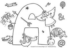 I Spy Alphabet Coloring Pages A-Z (from Activity Village)