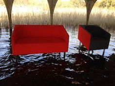 Cocodi [design Italo Pertichini]:  Floating sofas in very unique place, during a very strange photoshooting  #italopertichini #divanicontract #contractsofas #redsofas #crazyphotoshooting