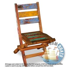 Garden chair made from reclaimed boat timber. Nautical, recycled, reclaimed, boatwood, boat furniture, homedecor, interior design.