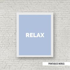 Relax Printable Poster Instant Download Blue by PrintablesWorld
