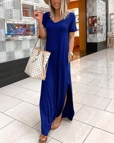 Item ID: L8124 Description: Material: Polyester Season: Spring,Summer Sleeves: Short Sleeve Pattern: Solid Style: Fashion, Daily, Elegant, Holiday Package incl Blue Dresses, Summer Dresses, Maxi Dresses, Maxi Dress With Slit, Pattern Fashion, Types Of Sleeves, Dresses For Sale, Short Sleeve Dresses, Short Sleeves
