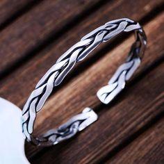 Men's Fine Silver Braided Cuff Bracelet