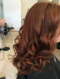 lang haar, koperkleur, curls, krullen