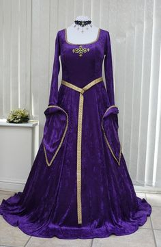 Purple and Gold Lotr Medieval Velvet Dress, Dawns Medieval Dresses