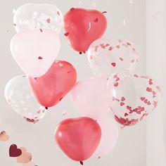 Ballonnen harten rood, roze en confetti (10st) Ginger Ray | Partydeco.nl