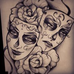 Closeup #chicano #chicanotattoo #ganstatattoo #laughnow #crylater #rosetattoo #masktattoo #mask