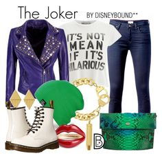 """""""The Joker"""" by leslieakay ❤ liked on Polyvore featuring Tommy Hilfiger, Wildfox, Eklexic, Gorjana, Dr. Martens, Christian Dior, Dccomics, thejoker and SuicideSquad"""