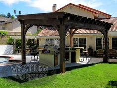Free standing pergola with Early American stain and Crescent profile. Upgraded full covered roof.