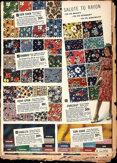 Sears-Roebuck Catalogs Sold Fabrics / Rayon-Cotton blend, 25 cents a yard.  ('40's - '50's)