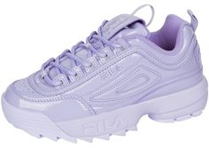 Patent leather upper Lace up-closure Dual pull tab for easy on/off Padded tongue and collar Textile lining EVA midsole Perforated detail Rubber outsole Red Fila Shoes, Fila Kids Shoes, Clarks, Fila Disruptors, Purple Shoes, Chunky Sneakers, Louboutin Shoes, Cute Shoes, Patent Leather