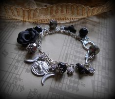The Raven The Rose and The Moon Charm bracelet, Wiccan witch pagan ,Twilight, celtic,druid priestess,purple,wiccan jewelry $18