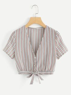 Shop Striped Knot Hem Crop Top at ROMWE, discover more fashion styles online. Dress Outfits, Girl Outfits, Fashion Outfits, Dresses, Striped Crop Top, Crop Tops, Minimal Fashion, Blouse Designs, Trendy Outfits