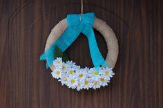 summer spring wreaths burlap wreath daisy flowers wreaths by Kreacje
