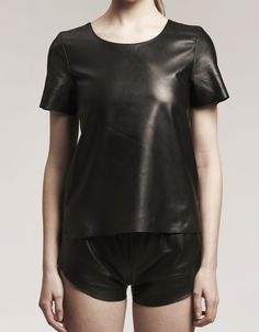 # 0.01 leather T-shirt