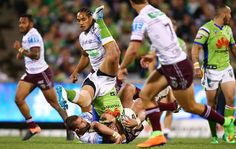 Jordan Rapana of the Raiders is up ended during the round eight NRL match between the Canberra Raiders and the Manly Sea Eagles at GIO Stadium on April 21, 2017 in Canberra, Australia.