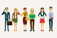 Set of avatars in a flat style by VectorMarket on Creative Market