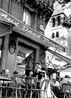 Aux Deux Magots Saint-Germain des Prés Paris circa 1960 (unknown)  I can't wait to go here again!!!