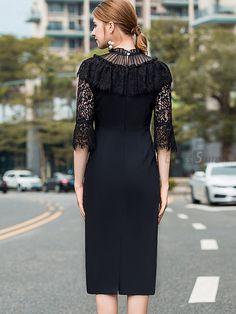 Elegant Embroidery Lace Stand Collar 3/4 Sleeve Skater Dress - DressSure.com Skater Dress, Cold Shoulder Dress, Models, Embroidery, Elegant, Lace, Sleeves, Fashion Design, Dresses