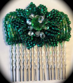 Bead Embroidered Comb Emerald for EBEG Mini Fest by bjswearableart, $40.00