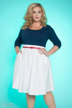 Allison Dress in White Pin Dots with Navy - Plus Size