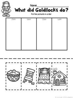 Goldilocks and the Three Bears sequencing activity! Bear Activities Preschool, Fairy Tale Activities, Sequencing Activities, Preschool Lessons, Preschool Classroom, In Kindergarten, Book Activities, Camping Activities, Fairy Tale Crafts