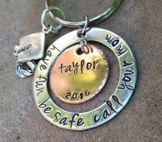 Graduation Gifts, Graduation Have Fun Be Safe Call Your Mom, Penny Gifts Graduation, Graduation keychain,natashaaloha Volleyball Locker Decorations, Personalized Graduation Gifts, Metal Stamping, Cute Gifts, Hand Stamped, Etsy Store, My Etsy Shop, Mom, Graduation 2016