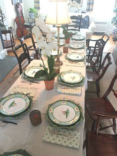 Juliska chargers. Gmundner Keramik hunt plates. Birthday dinner. Birthday Dinners, Tablescapes, Table Settings, Plates, Home Decor, Licence Plates, Dishes, Decoration Home, Griddles