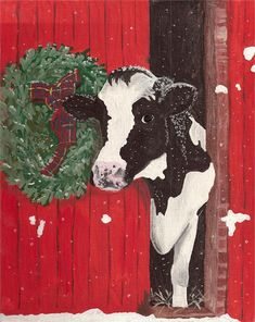 Holstein Cow Art Print Black and white cow standing in a red barn with christmas wreath Holiday farmhouse Decor Farmhouse Decor art Barn Black Christmas Cow Decor Farmhouse Holiday Holstein Print Red standing White WREATH Christmas Paintings On Canvas, Christmas Canvas, Christmas Farm, Black Christmas, Christmas Decor, Christmas Holiday, Holstein Cows, Illustration Noel, Cow Painting