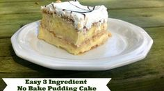 Easy 3 Ingredient No Bake Pudding Cake! - Midlife Healthy Living