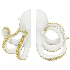 Three Hands Resin Octopus Bookend - White