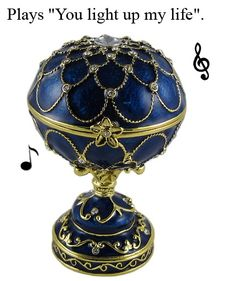 """Faberge inspired music box. Papa would love this because of the song, """"You light up my life"""". His favorite song!"""