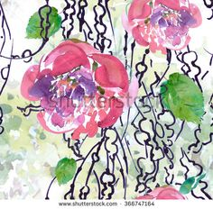 Seamless Pattern Illustration Watercolor Artwork Doodle Plant's Seeds with Peony - stock photo