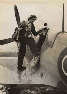"English Flight test engineer Lettice Curtis with a Spitfire during WWII... During her ATA service she was one of the first dozen women to qualify to fly four-engined heavy bombers. She flew continually during World War II through all types of weather to various destinations. She flew ""thirteen days on, two off, for sixty-two consecutive months"", between July 1940 and September 1945."