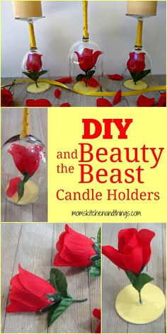 Beauty and the Beast is definitely one of my favorite Disney movies ever. Belle is also my second favorite princess…Jasmine has her beat (I mean she does have a pet tiger). A whole new gener… Diy Beauty And The Beast Decorations, Beauty And The Beast Diy, Beauty And Beast Wedding, Disney Diy, Disney Crafts, Disney Belle, Slytherin, Fun Crafts To Do, Decoupage