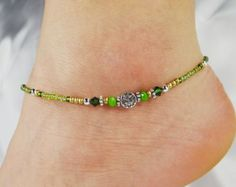 Anklet Ankle Bracelet Heart Dangle Charm by ABeadApartJewelry
