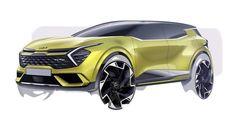 Car Design Sketch, Car Sketch, Kia Sportage, Europe, Auto News, Rear Ended, Led Headlights, Electric Motor, Automotive Design