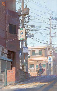 Kai Fine Art is an art website, shows painting and illustration works all over the world. Anime Gifs, Fanarts Anime, Anime Art, Art Environnemental, Illustration Art, Illustrations, Anime Scenery, Environment Design, Environmental Art