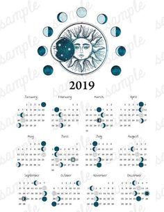 2019 Moon Phase Calendar Vintage Sun Moon Equinox Solstice
