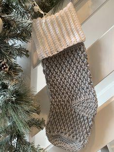 Alpine Christmas Stocking Knitted Christmas Stocking Patterns, Crochet Stocking, Knitted Christmas Stockings, Christmas Knitting, Xmas Stockings, Selling Crochet, Holiday Crochet, Crochet Christmas Trees, Crochet Basics