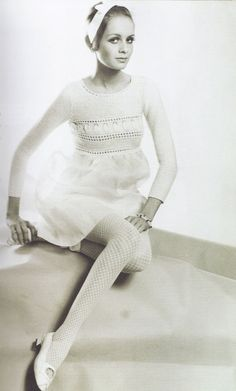 //Vintage knits: French label Dorothee Bis was at the forefront of knitwear design during the 1960's and 70's. Twiggy, 1967.  Source: Vintage fashion knitwear, Marnie Fogg
