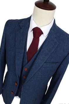 Blue Herringbone Tweed 3 Piece Suit